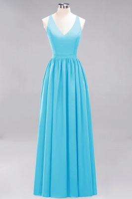 | A-Line Chiffon Lace V-Neck Sleeveless Straps Floor-Length Bridesmaid Dresses_23