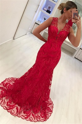 Mermaid Appliques Straps Sleeveless V-Neck Long Prom Dress_1