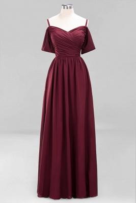 Chiffon V-Neck Spaghetti Straps Short-Sleeves Floor-Length Bridesmaid Dresses with Ruffles_8