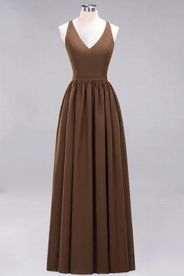 | A-Line Chiffon Lace V-Neck Sleeveless Straps Floor-Length Bridesmaid Dresses_12