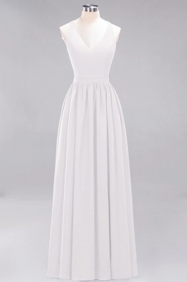 | A-Line Chiffon Lace V-Neck Sleeveless Straps Floor-Length Bridesmaid Dresses_1