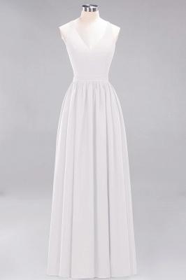 | A-Line Chiffon Lace V-Neck Sleeveless Straps Floor-Length Bridesmaid Dresses_1