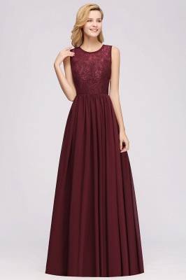 A-line Chiffon Lace Jewel Sleeveless Ruffles Floor-Length Bridesmaid Dresses with Appliques_1