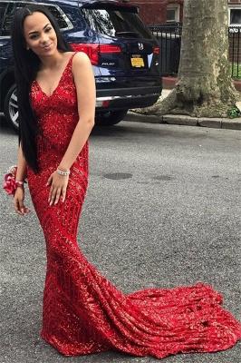 Fashion Spaghetti Straps Sleeveless V-Neck Sequins Mermaid Prom Dress_1