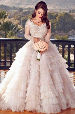 Tulle Appliques V-Neck Long-Sleeves Layers Wedding Dress