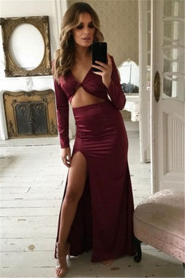 Charming Long Sleeves V-Neck Front Slipt Sheath Prom Dress_2