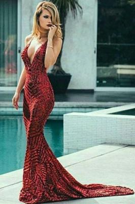 Fashion Spaghetti Straps Sleeveless V-Neck Sequins Mermaid Prom Dress_4
