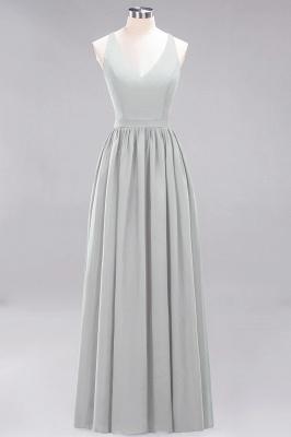 | A-Line Chiffon Lace V-Neck Sleeveless Straps Floor-Length Bridesmaid Dresses_29