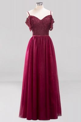 Chiffon Lace Sweetheart Spaghetti Straps Short-Sleeves Floor-Length Bridesmaid Dresses with Ruffles_6