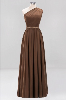 Elegant A-Line Burgundy Chiffon One-Shoulder Sleeveless Ruffles Floor-Length Bridesmaid Dresses with Beadings_4