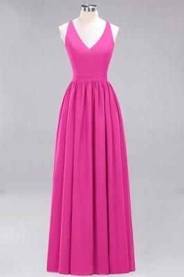 | A-Line Chiffon Lace V-Neck Sleeveless Straps Floor-Length Bridesmaid Dresses_9