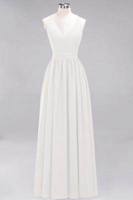 | A-Line Chiffon Lace V-Neck Sleeveless Straps Floor-Length Bridesmaid Dresses_2