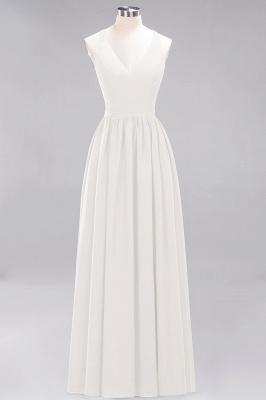 | A-Line Chiffon Lace V-Neck Sleeveless Straps Floor-Length Bridesmaid Dresses_2