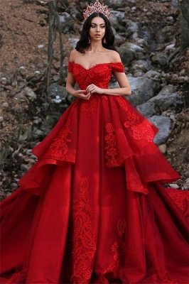Gorgeous Appliques Off-the-Shoulder Sleeveless Prom Dress_2