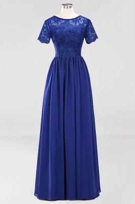 A-line Chiffon Lace Jewel Short-Sleeves Floor-length Bridesmaid Dress_25