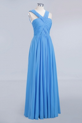 Elegant A-Line Chiffon Straps Sleeveless Ruffles Floor-Length Bridesmaid Dresses_9