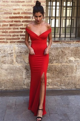 Sexy Mermaid Off-the-Shoulder Sleeveless Front-Slipt Prom Dress_1