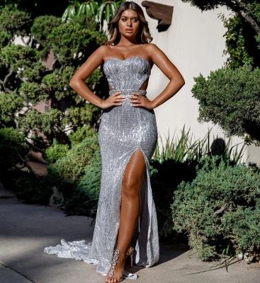Charming Sweetheart Sleeveless Mermaid Front Split Prom Dress_7