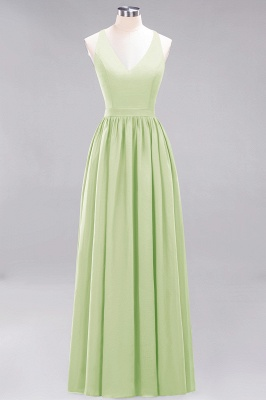 | A-Line Chiffon Lace V-Neck Sleeveless Straps Floor-Length Bridesmaid Dresses_33