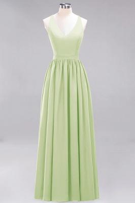 | A-Line Chiffon Lace V-Neck Sleeveless Straps Floor-Length Bridesmaid Dresses_33