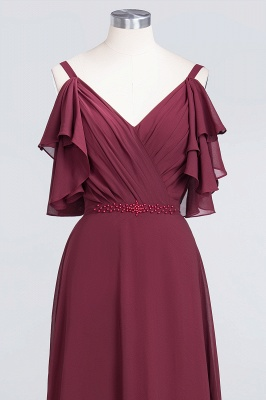 Elegant Princess Chiffon V-Neck Straps Sleeveless Ruffles Floor-Length Bridesmaid Dress with Pearls_4