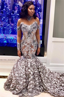 Mermaid Off-the-Shoulder Long-Sleeves Long Prom Dress with Flower_1