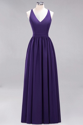 | A-Line Chiffon Lace V-Neck Sleeveless Straps Floor-Length Bridesmaid Dresses_18