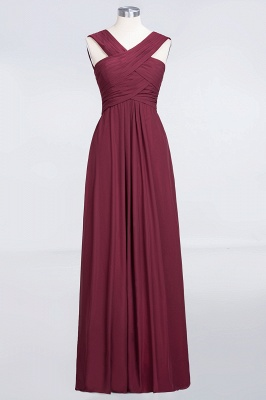 Elegant Princess Chiffon V-Neck Straps Sleeveless Floor-Length Bridesmaid Dress with Ruffles_1