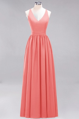 | A-Line Chiffon Lace V-Neck Sleeveless Straps Floor-Length Bridesmaid Dresses_7