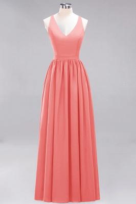 | A-Line Chiffon Lace V-Neck Sleeveless Straps Floor-Length Bridesmaid Dresses_7