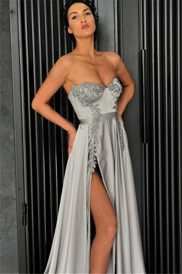 Sexy A-Line Strapless Front-Slipt Prom Dress_3