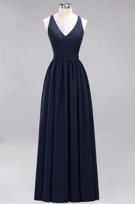 | A-Line Chiffon Lace V-Neck Sleeveless Straps Floor-Length Bridesmaid Dresses_27
