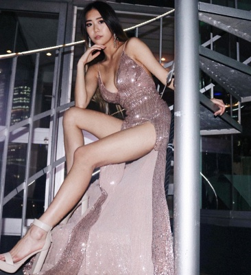 Sexy V-Neck Spaghetti Straps Sheath Front Split Prom Dress_3