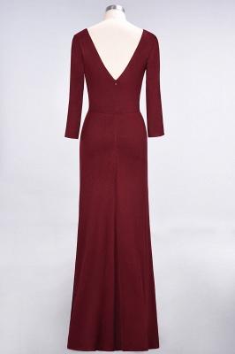 Elegant Princess Spandex V-Neck Long-Sleeves Side-Slit Floor-Length Bridesmaid Dress with Ruffles_2