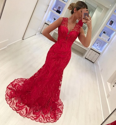 Mermaid Appliques Straps Sleeveless V-Neck Long Prom Dress_4