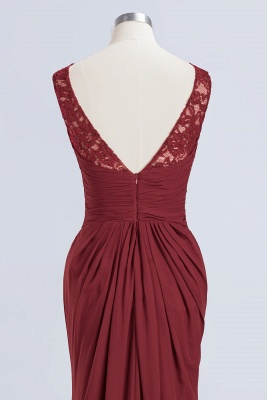 Elegant A-Line Burgundy Chiffon Lace Scoop Sleeveless Ruffles Floor-Length Bridesmaid Dresses_12