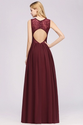A-line Chiffon Lace Jewel Sleeveless Ruffles Floor-Length Bridesmaid Dresses with Appliques_2