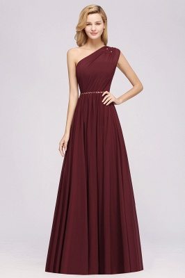 Elegant A-Line Burgundy Chiffon One-Shoulder Sleeveless Ruffles Floor-Length Bridesmaid Dresses with Beadings_9