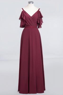 Elegant Princess Chiffon V-Neck Straps Sleeveless Ruffles Floor-Length Bridesmaid Dress with Pearls_1