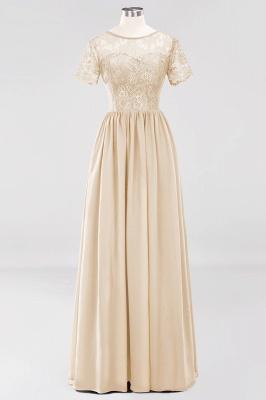 A-line Chiffon Lace Jewel Short-Sleeves Floor-length Bridesmaid Dress_14