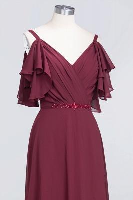 Elegant Princess Chiffon V-Neck Straps Sleeveless Ruffles Floor-Length Bridesmaid Dress with Pearls_5