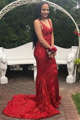 Fashion Spaghetti Straps Sleeveless V-Neck Sequins Mermaid Prom Dress_3