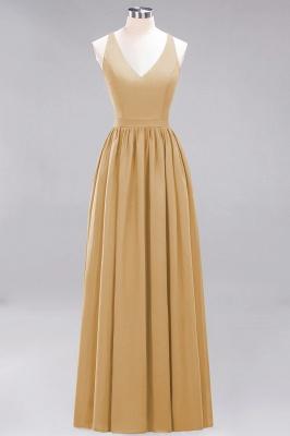 | A-Line Chiffon Lace V-Neck Sleeveless Straps Floor-Length Bridesmaid Dresses_13