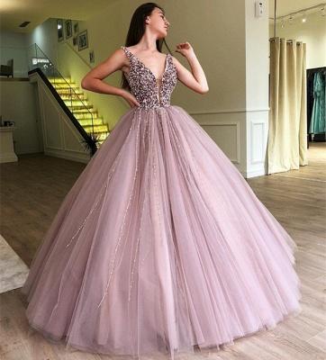 Tulle Beading Deep-V-Neck Straps Sleeveless Prom Dress_4