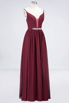Elegant Princess Chiffon Appliques Spaghetti-Straps Deep-V-Neck Sleeveless Floor-Length Bridesmaid Dress with Ruffles_3