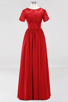 A-line Chiffon Lace Jewel Short-Sleeves Floor-length Bridesmaid Dress_8