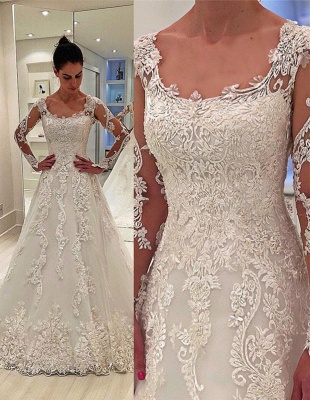 A-Line Tulle Appliques Square Neck Long-Sleeves Long Wedding Dress