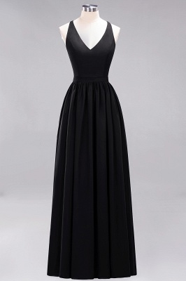 | A-Line Chiffon Lace V-Neck Sleeveless Straps Floor-Length Bridesmaid Dresses_28