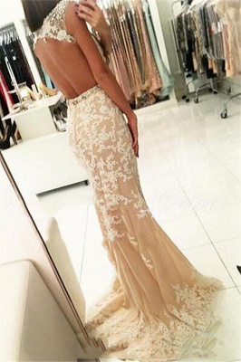 Fashion Appliques Round Neck Cap Sleeves Mermaid Prom Dress_2