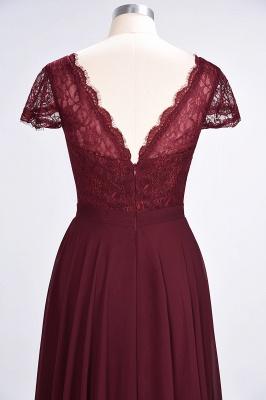 Elegant Princess Chiffon Lace V-Neck Cap-Sleeves Floor-Length Bridesmaid Dress_6